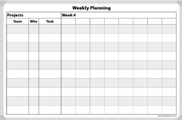 Weekly Project Planning Whiteboard